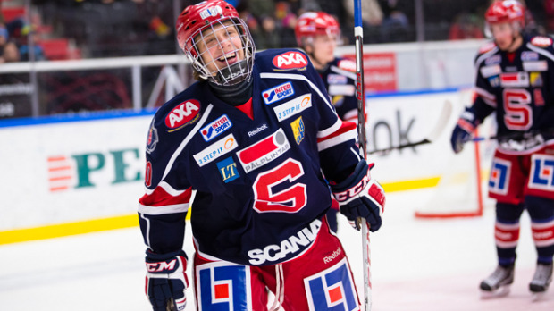 David Pastrňák, a top Boston Bruins prospect, in a Södertälje jersey. Photo courtesy of fansided.com